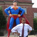 Obama poses with Superman, another one of his favorite superheroes.