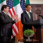Irish PM Brian Cowen and President Barack Obama.  Also pictured: A Bowl of Shamrocks