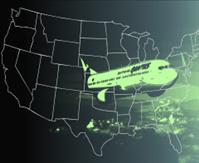 airplane usa map graphic - DNR