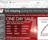 Macy's One Day Sale July 2011 – Online and at Stores this Saturday the 16th Sneak Peak sale this Friday