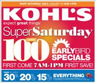 Kohls Ad for Super Saturday Sale August 13, 2011